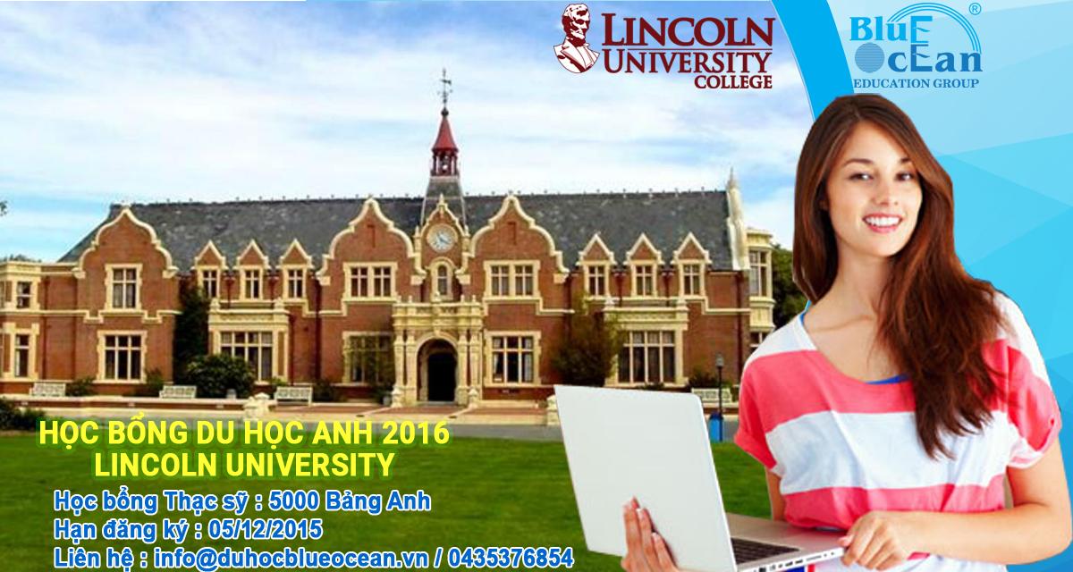 Học bổng du học Anh Quốc 2016 tại đại học Lincoln
