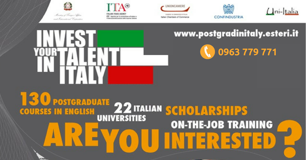 [Học bổng du học Ý] - Học Bổng Invest Your Talent In Italy năm 2018