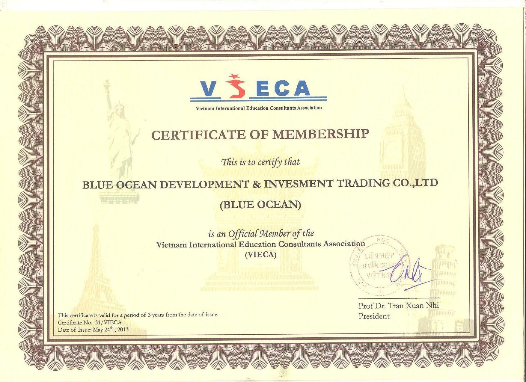 Thành viên chính thức của Liên hiệp Tư vấn du học Việt Nam (VIECA)